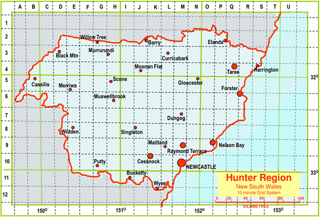 Hunter Region map